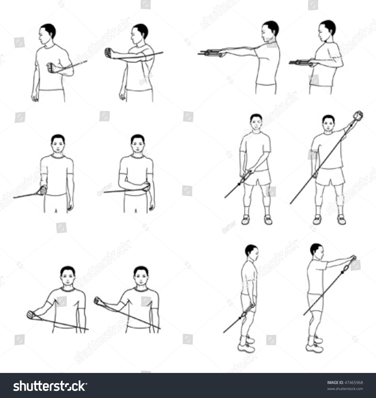 Shoulder Exercises Stock Vector 47465968 - Shutterstock