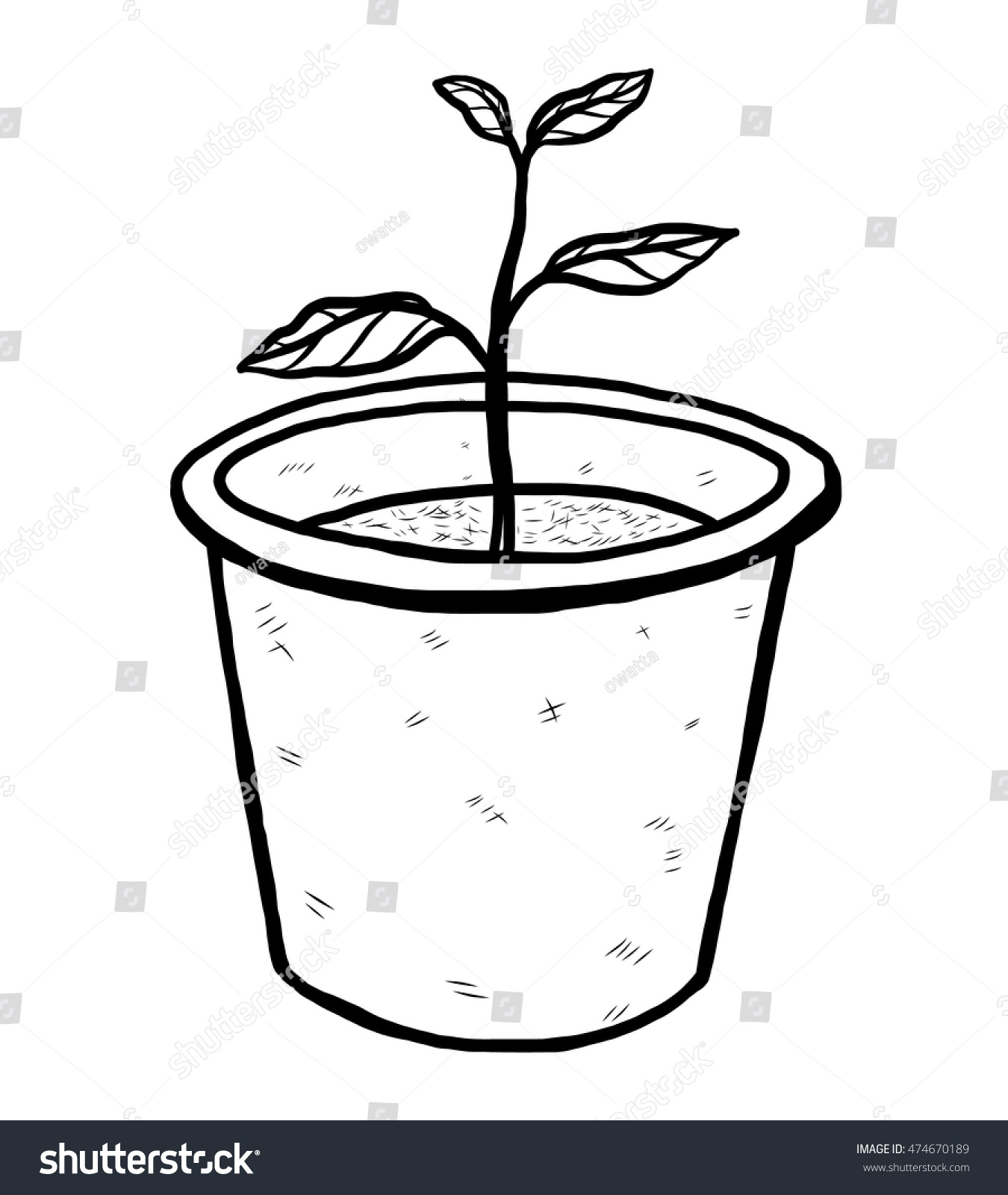 Flower Pot Cartoon Vector Illustration Black Stock Vector Royalty
