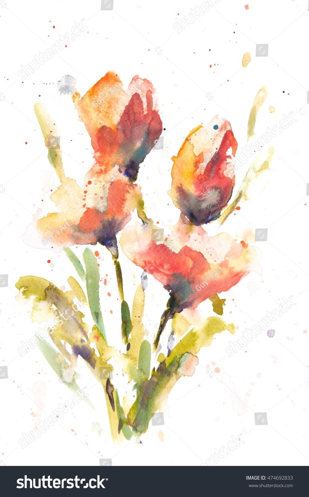 Stylized Tulips On White Flower Painting Stock Illustration