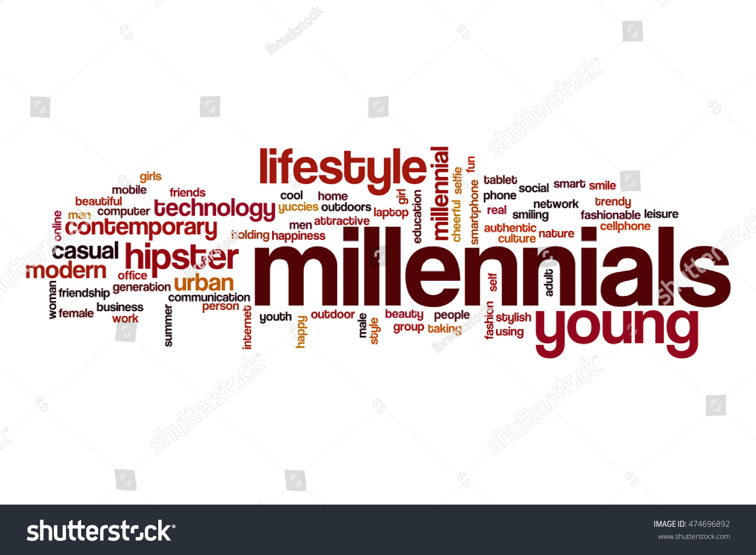 Men holding the word party concept 3d illustration stock photo - Millennials Word Cloud Concept