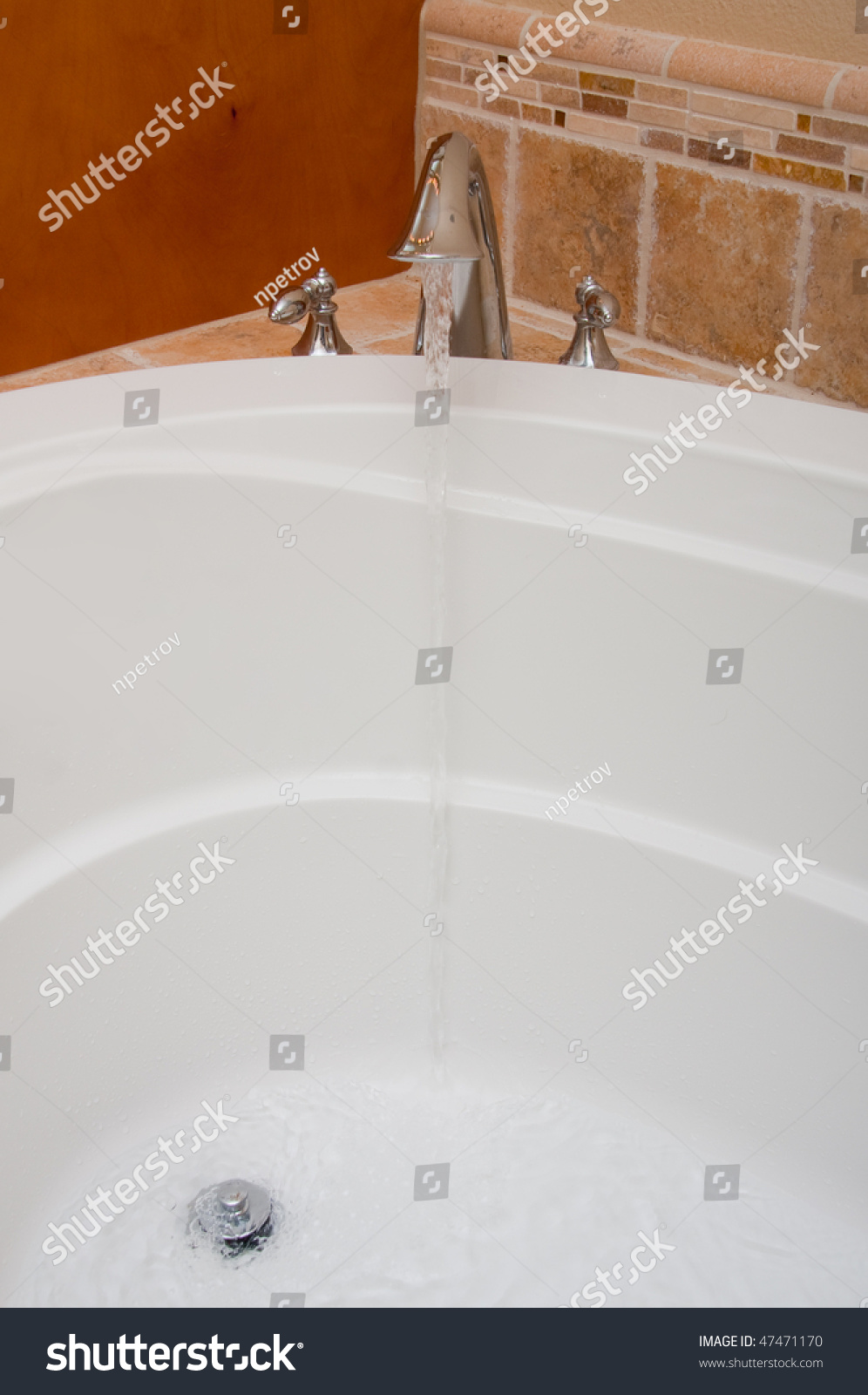 Open Faucet Water Running Into Bath Jacuzzi Stock Photo (Royalty ...