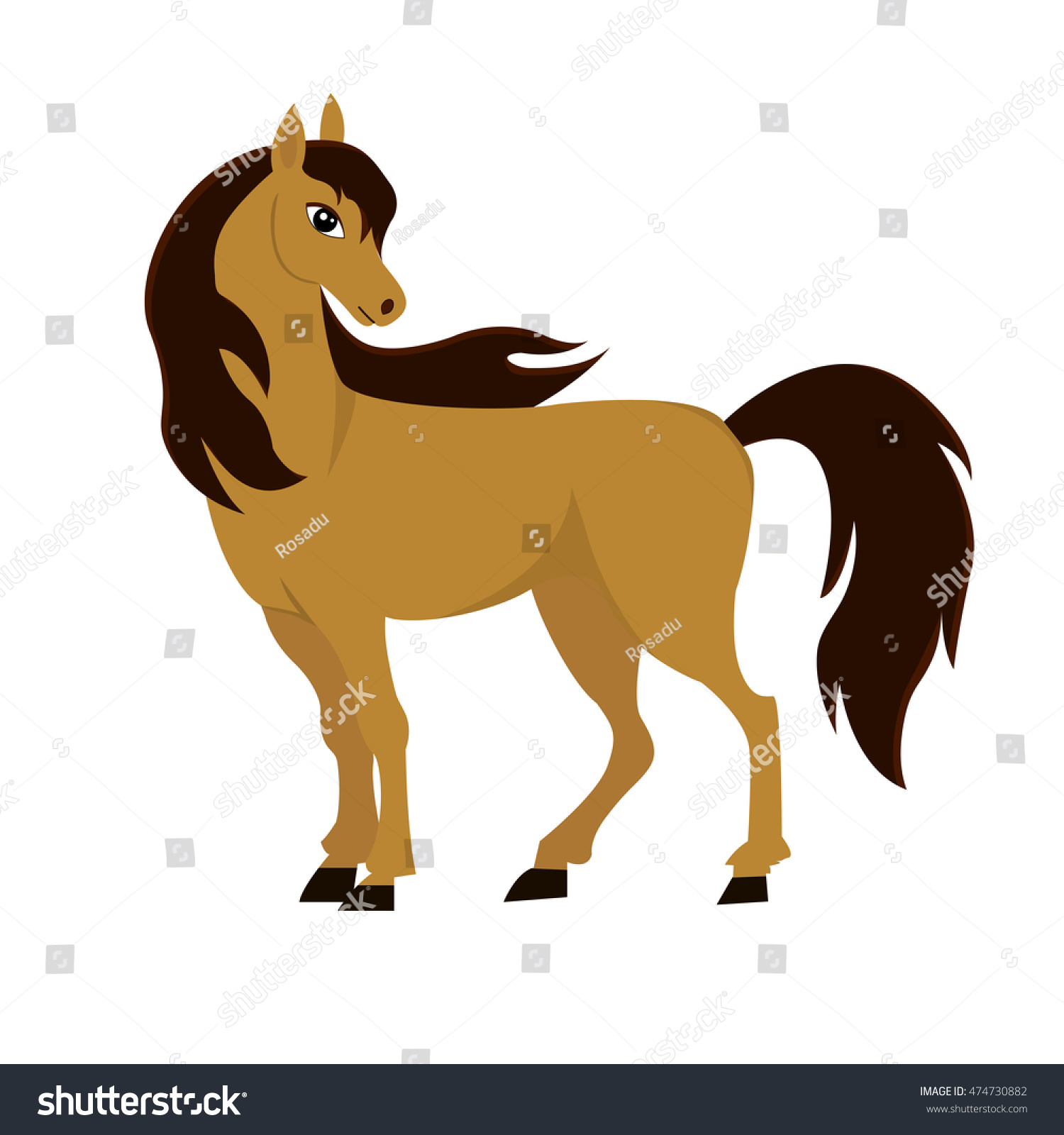 Brown Horse Isolated On White Background Stock Vector ...