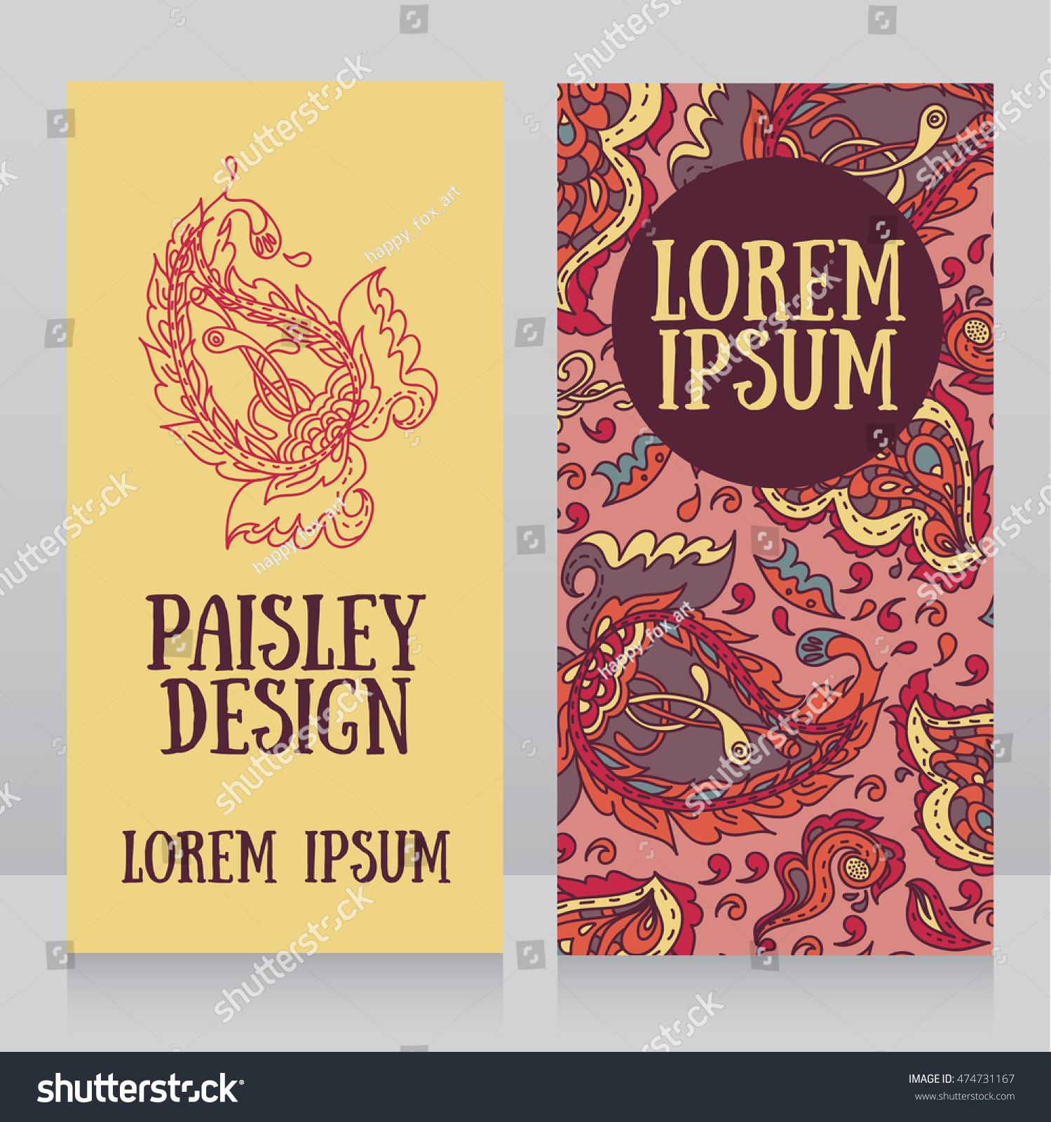 Colorful Cards Paisley Design Can Be Stock Vector Royalty Free