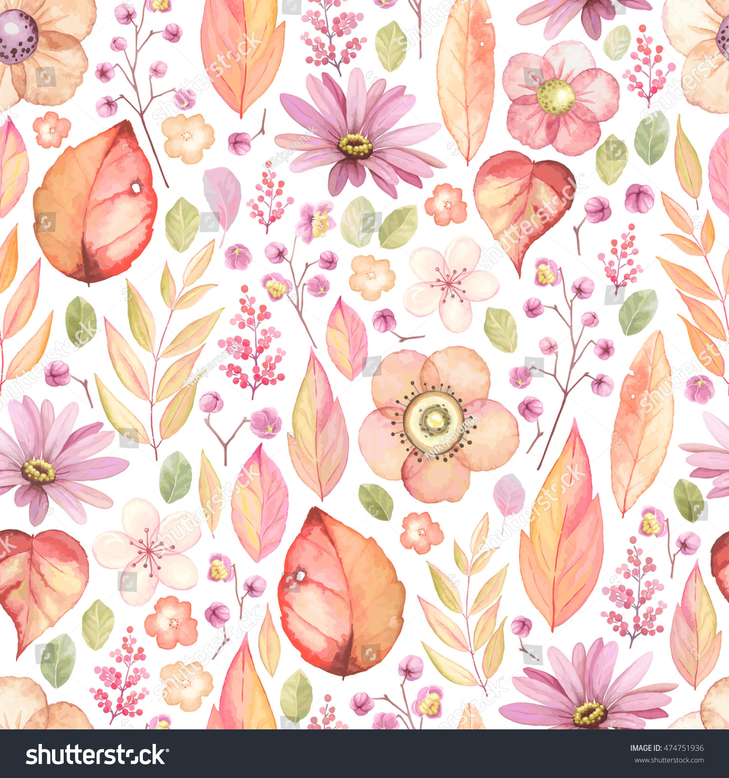 Rustic Floral Pattern Flowers Leaves Branches Stock Vector