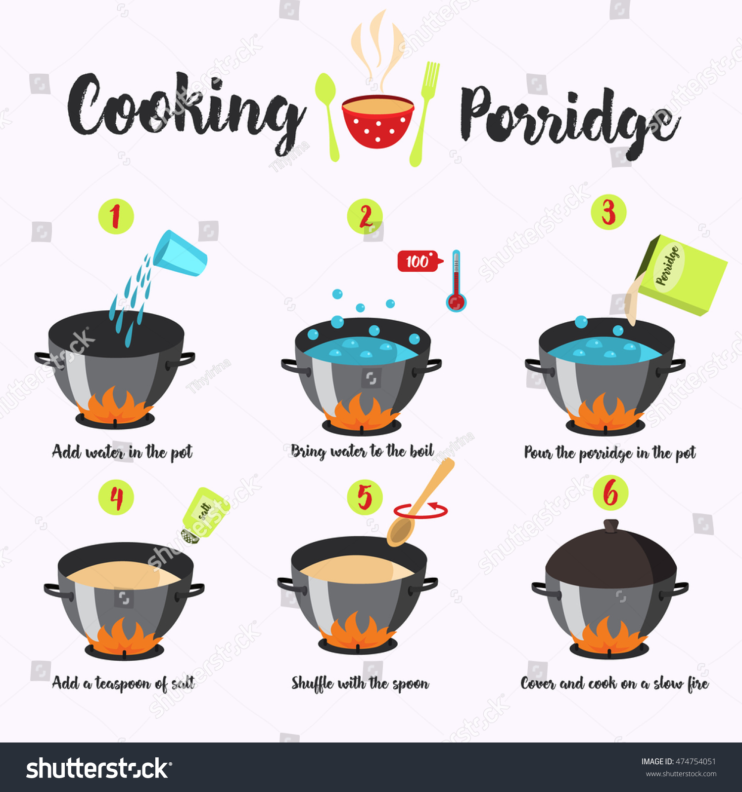 Cooking Instructions Manual Cooking Porridge Vector Stock Vector