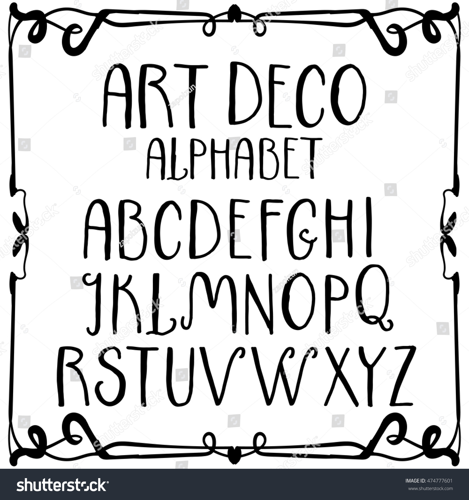 hand written decorative alphabet in art deco style uppercase letters vintage set