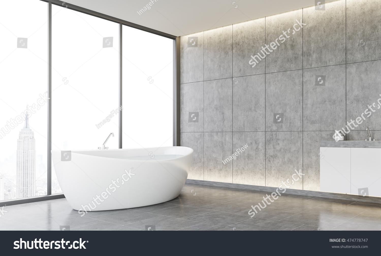 Cozy Bathroom Interior Tiled Walls Concrete Stock Illustration ...