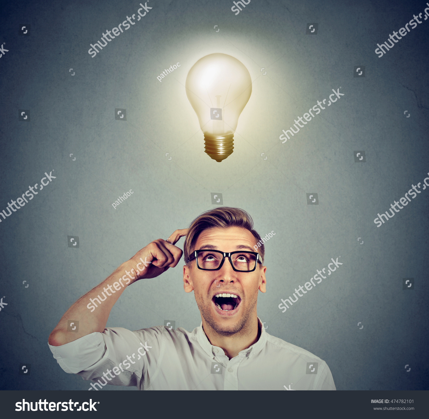 Happy Man Glasses Looking Bright Light Stock Photo (Safe to Use ... for Idea Light Bulb Over Head  181pct