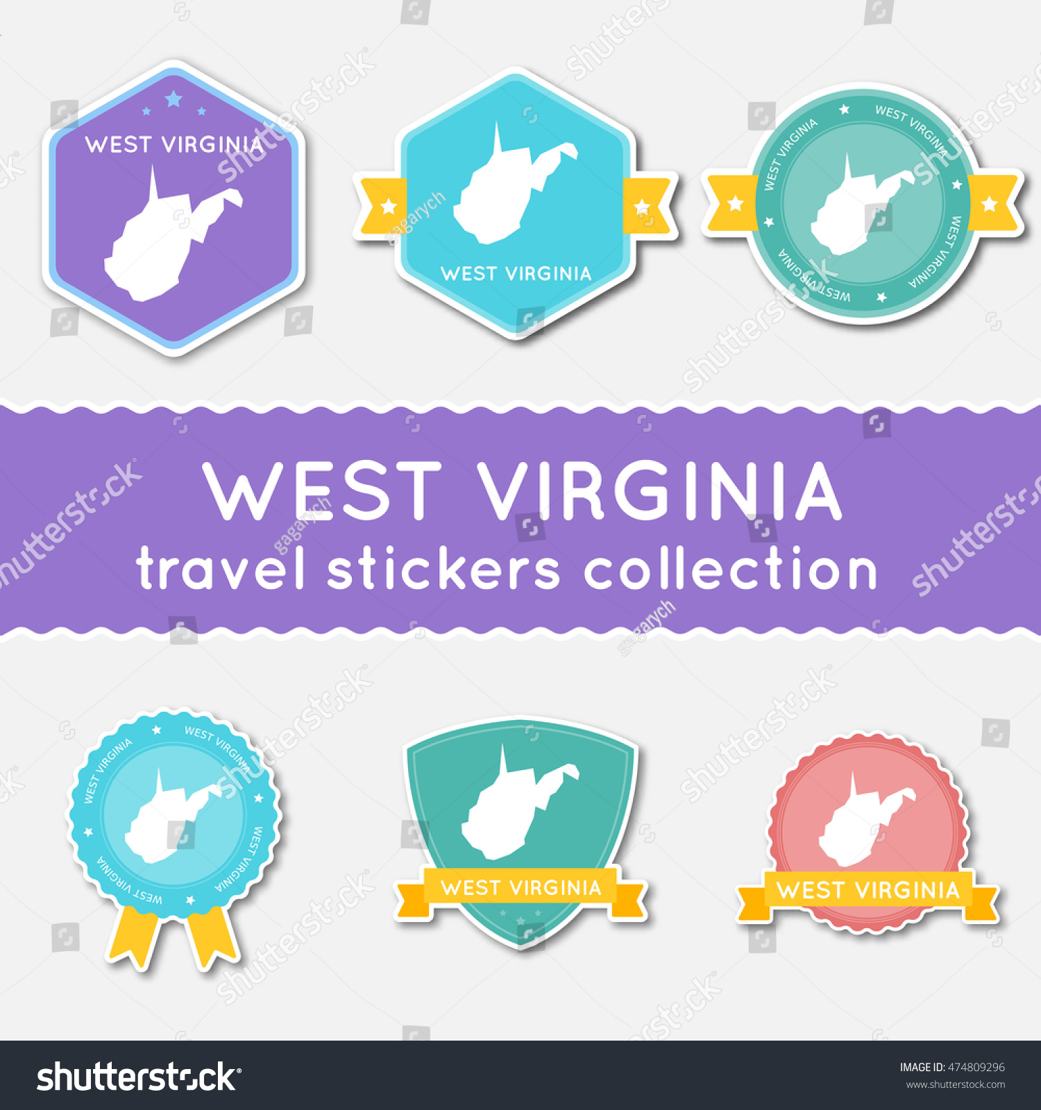 West Virginia Travel Stickers Collection Big Set Of Stickers With – Virginia Travel Map