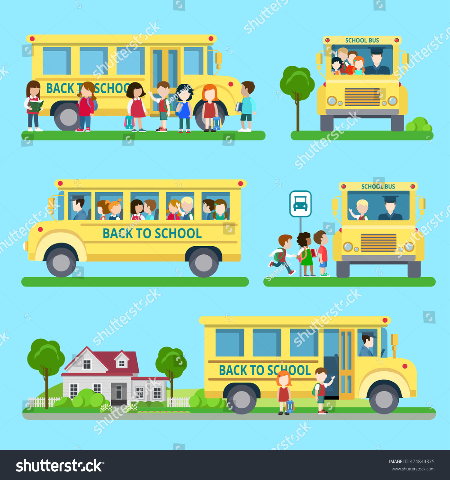 Flat set school bus situations vector stock vector 474844375 flat set of school bus situations vector illustration education and knowledge back to voltagebd Choice Image