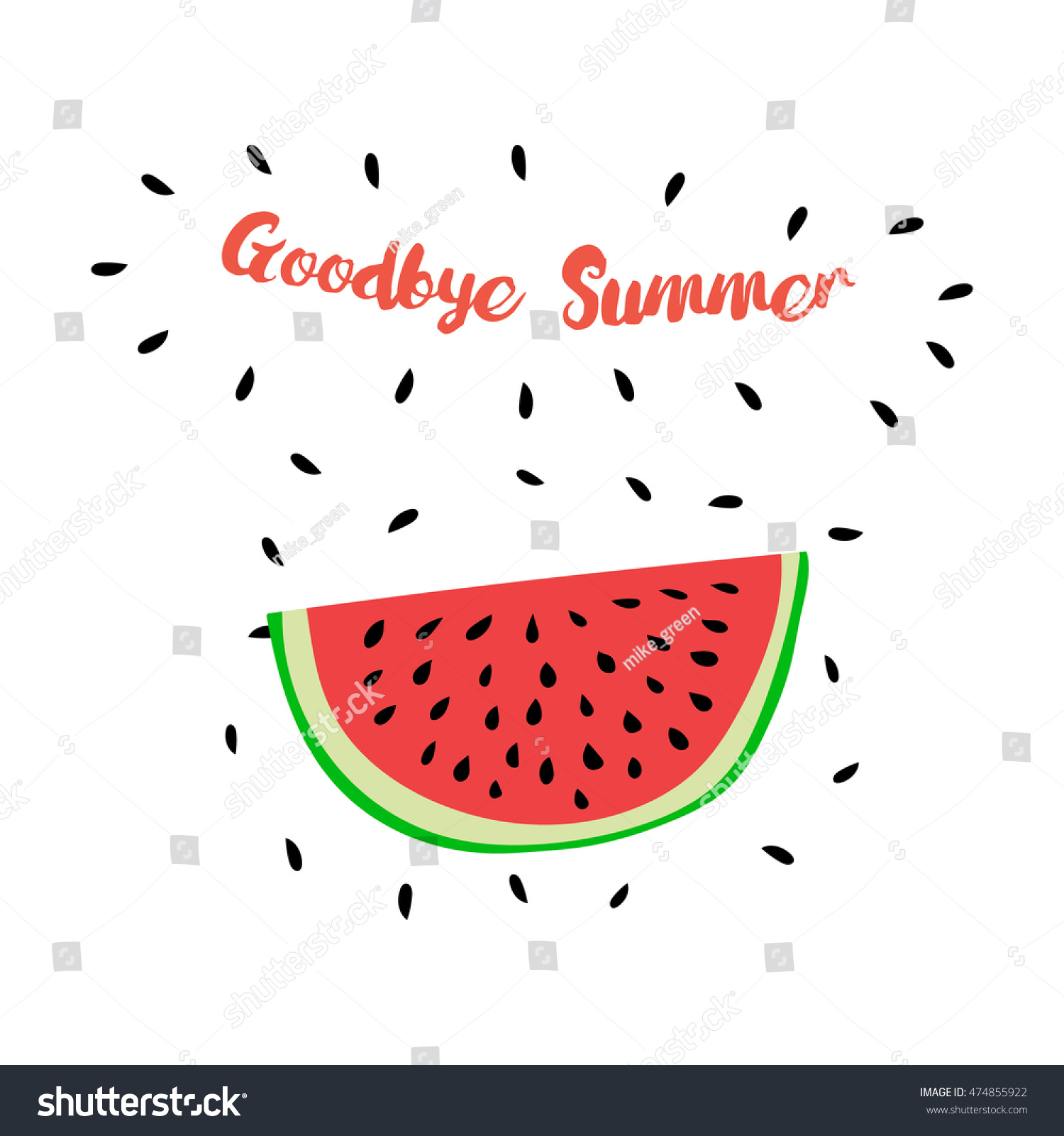 Print With Watermelon And Hand Writing Quote U0027Goodbye Summeru0027. Positive  Printable Sign.
