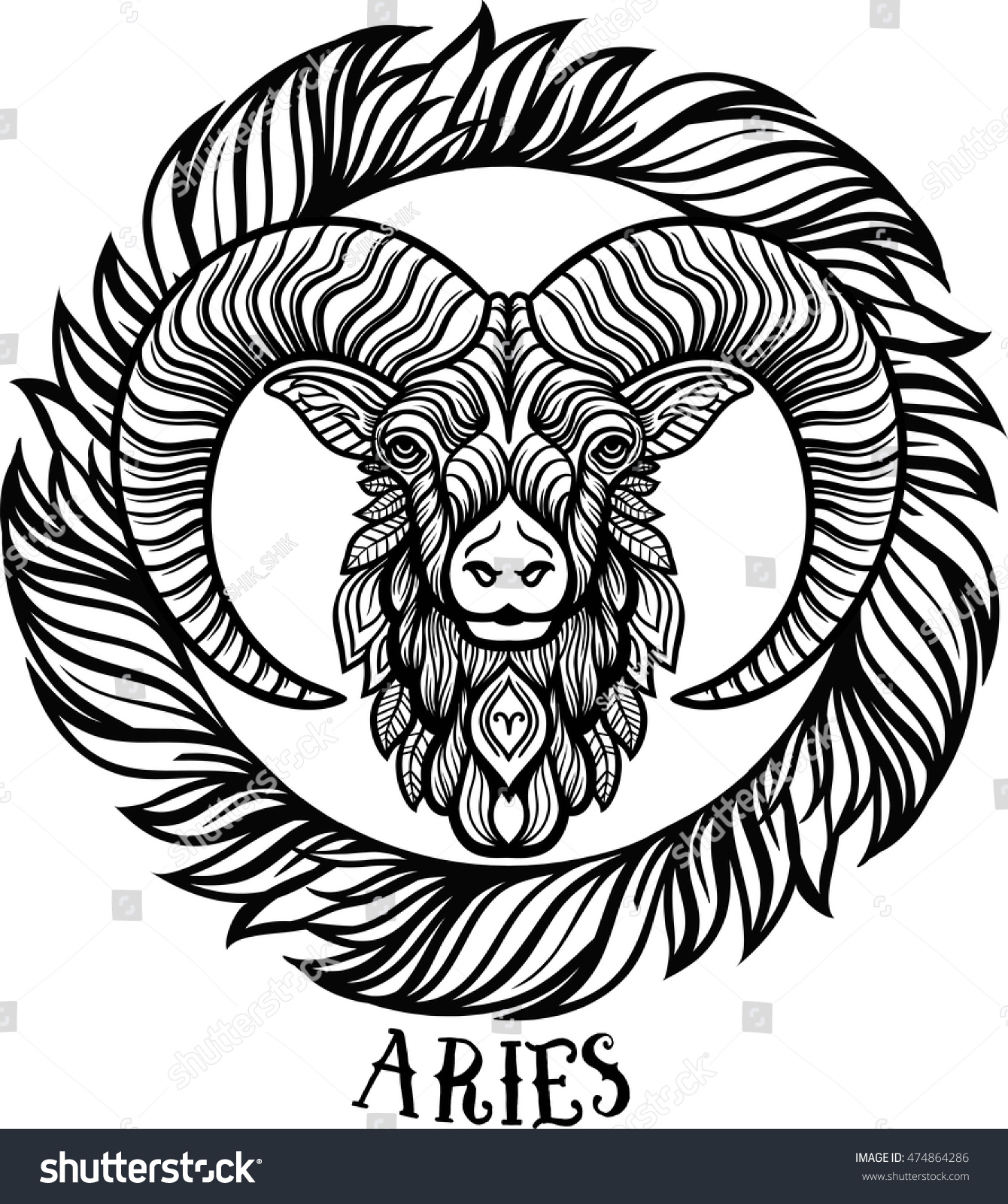 detailed aries aztec filigree line art stock vector 474864286