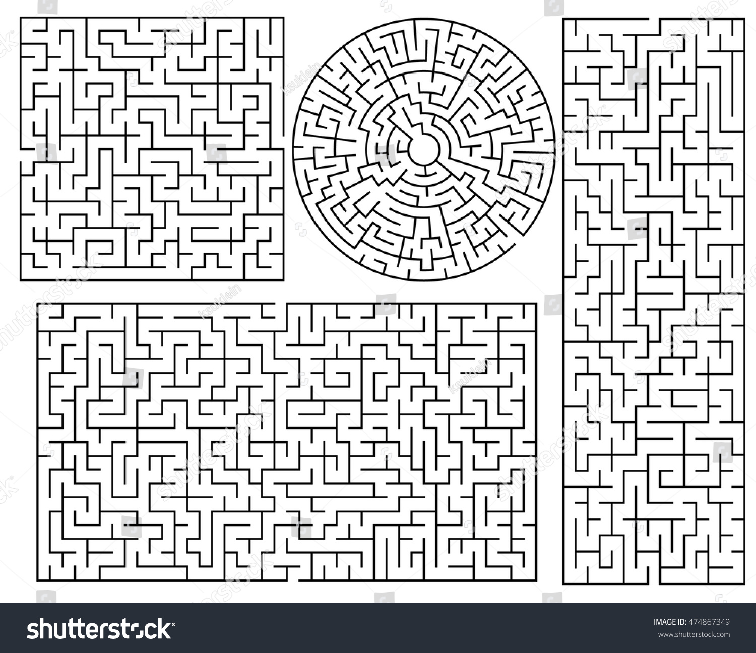 Vector Maze Templates Circle Square Labyrinth Stock Vector (Royalty ...