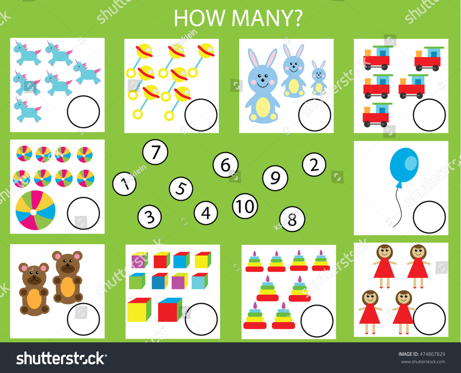 Counting Educational Children Game Kids Activity Stock Photo (Photo ...