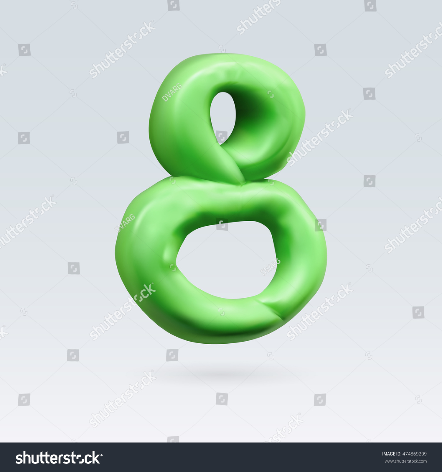 Number Eight Green Color Isolated On Stock Vector 474869209 ...