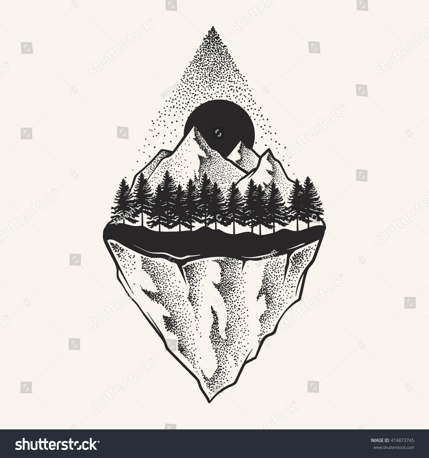 Abstract Mountains Hand Draw Stock Vector Royalty Free 474873745