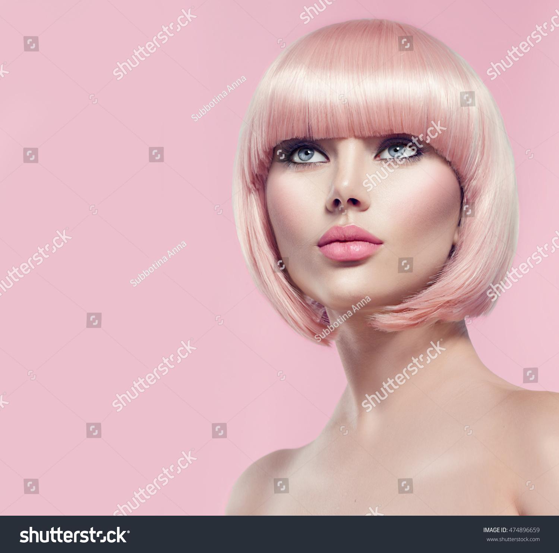 Beauty Fashion Model Portrait Pink Hair Stock Photo Edit Now