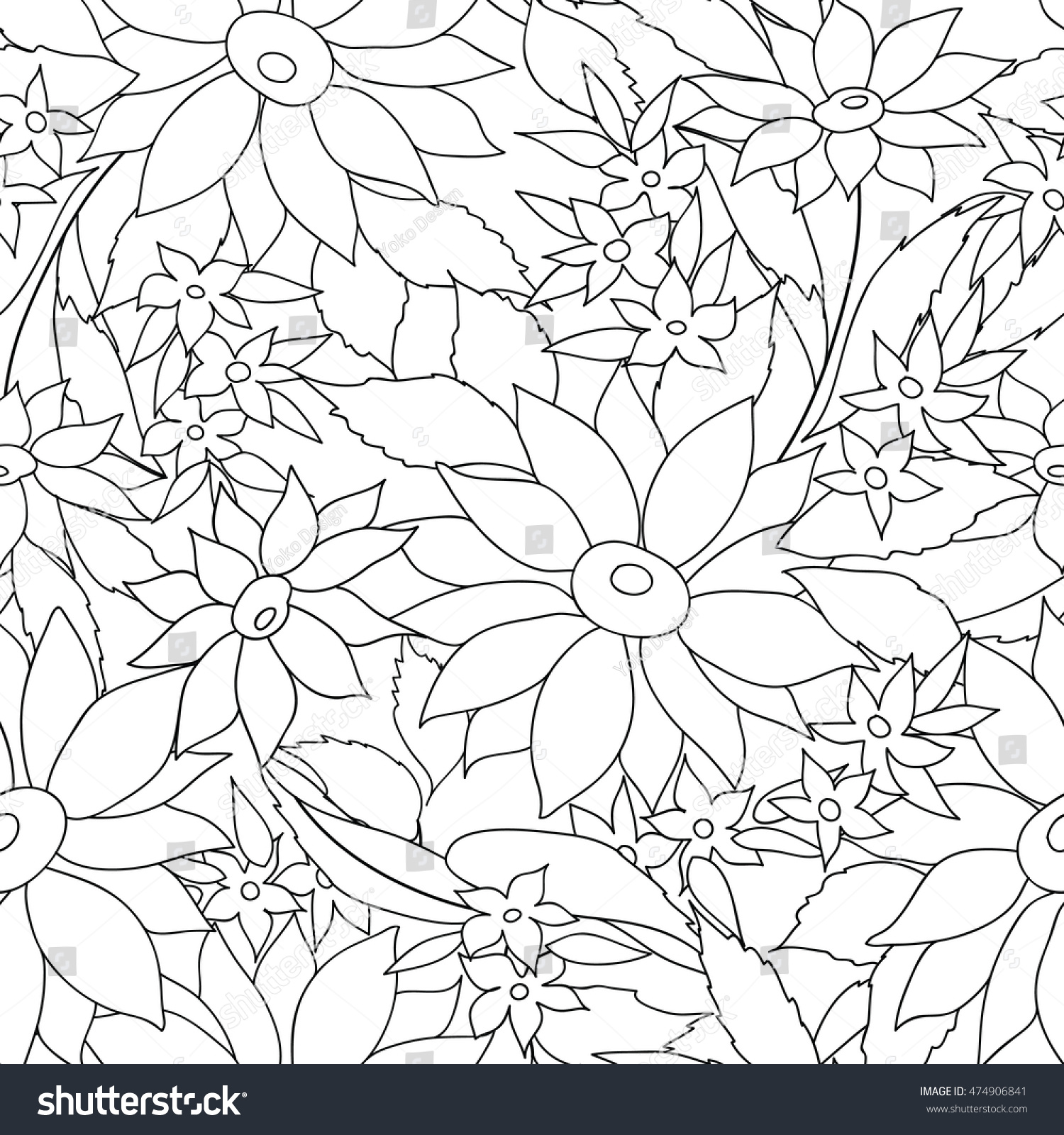 Floral Seamless Outline Pattern Flower Engraving Background Ornamental Monochrome Texture With Flowers