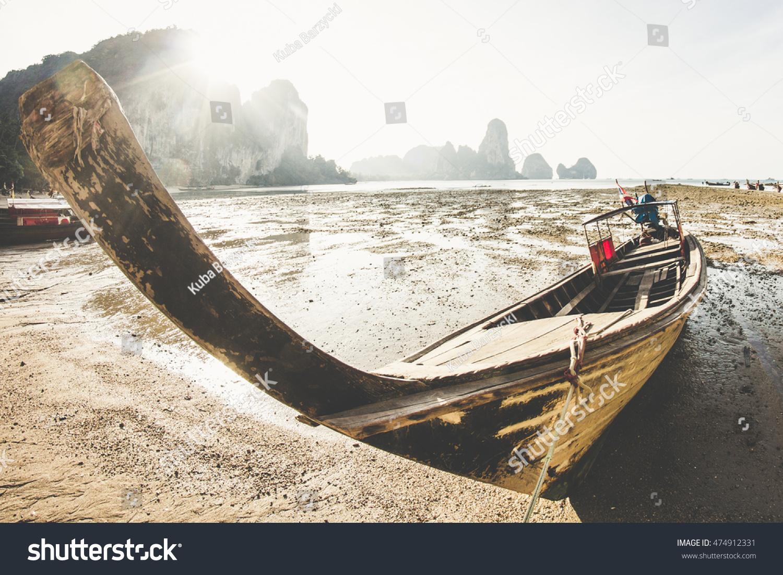 Longtail Boat Stuck On Tonsai Beach Stock Photo (Edit Now