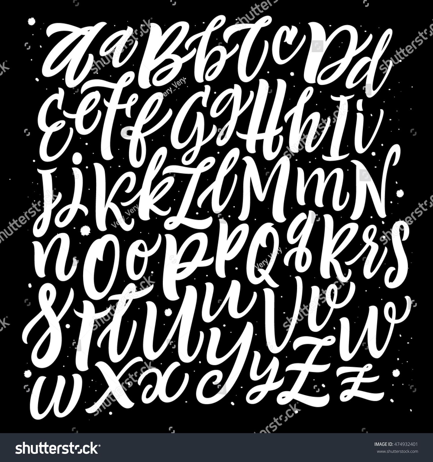 Alphabet Background Brush Letters Handwritten Script Stock
