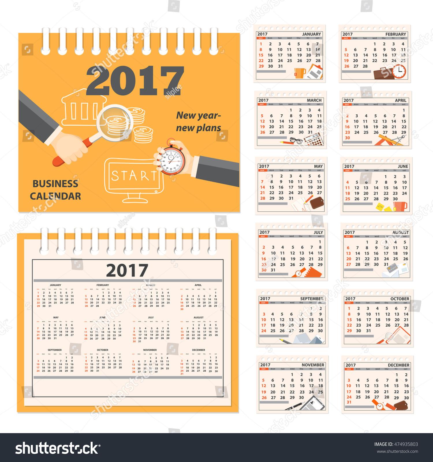 Year Calendar Desk : Business calendar desk on year stock vector