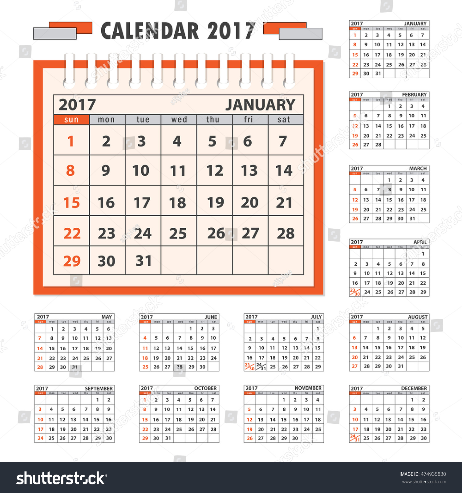 Corporate Calendar 2017 : Business calendar desk on year stock vector