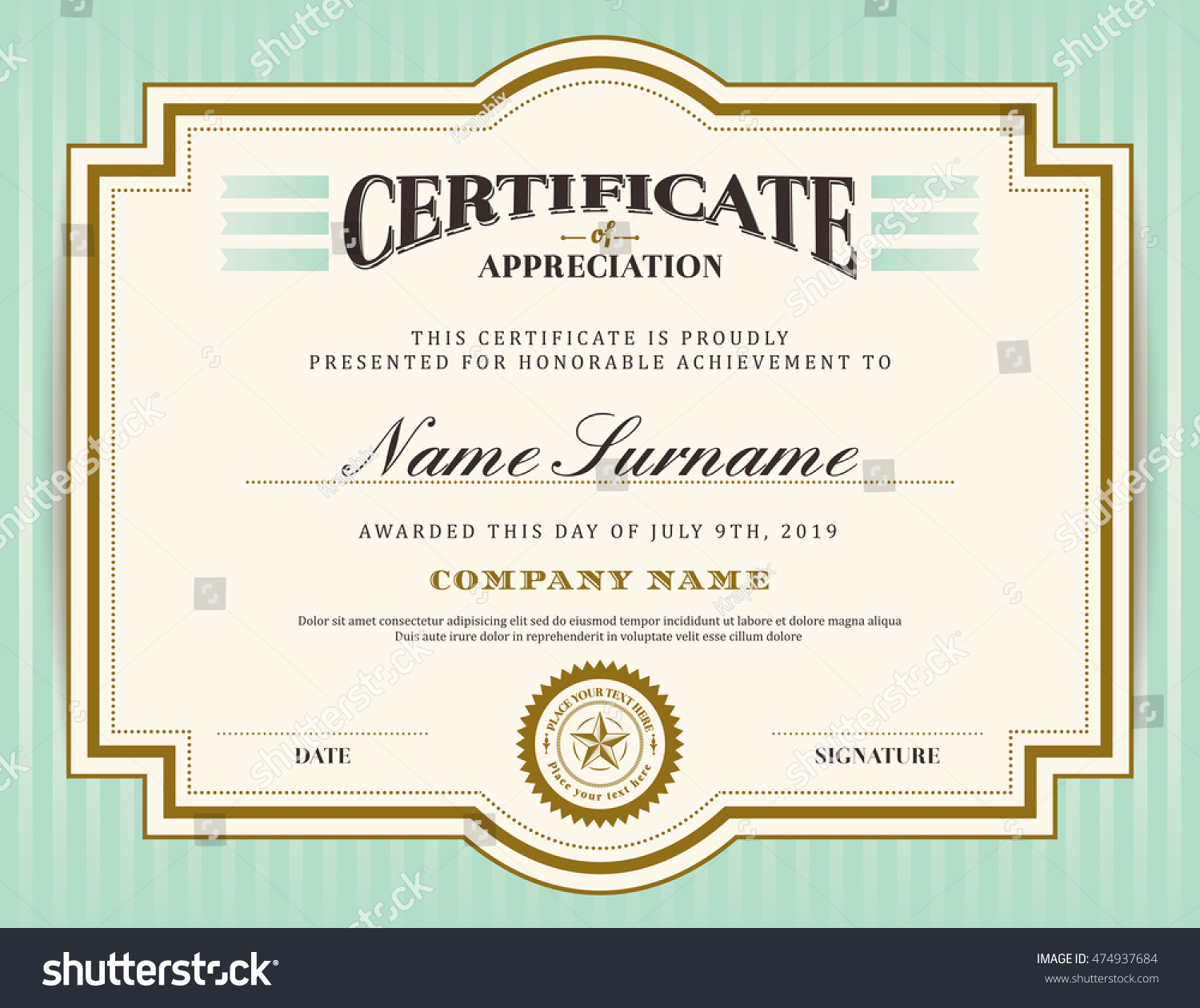 certificate frame template - vintage retro border frame certificate background stock