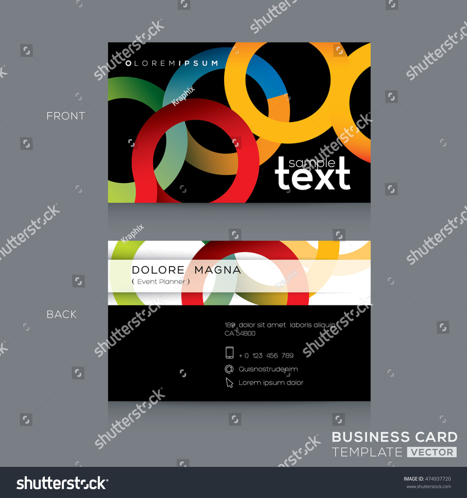 business cards design template abstract colorful stock vector