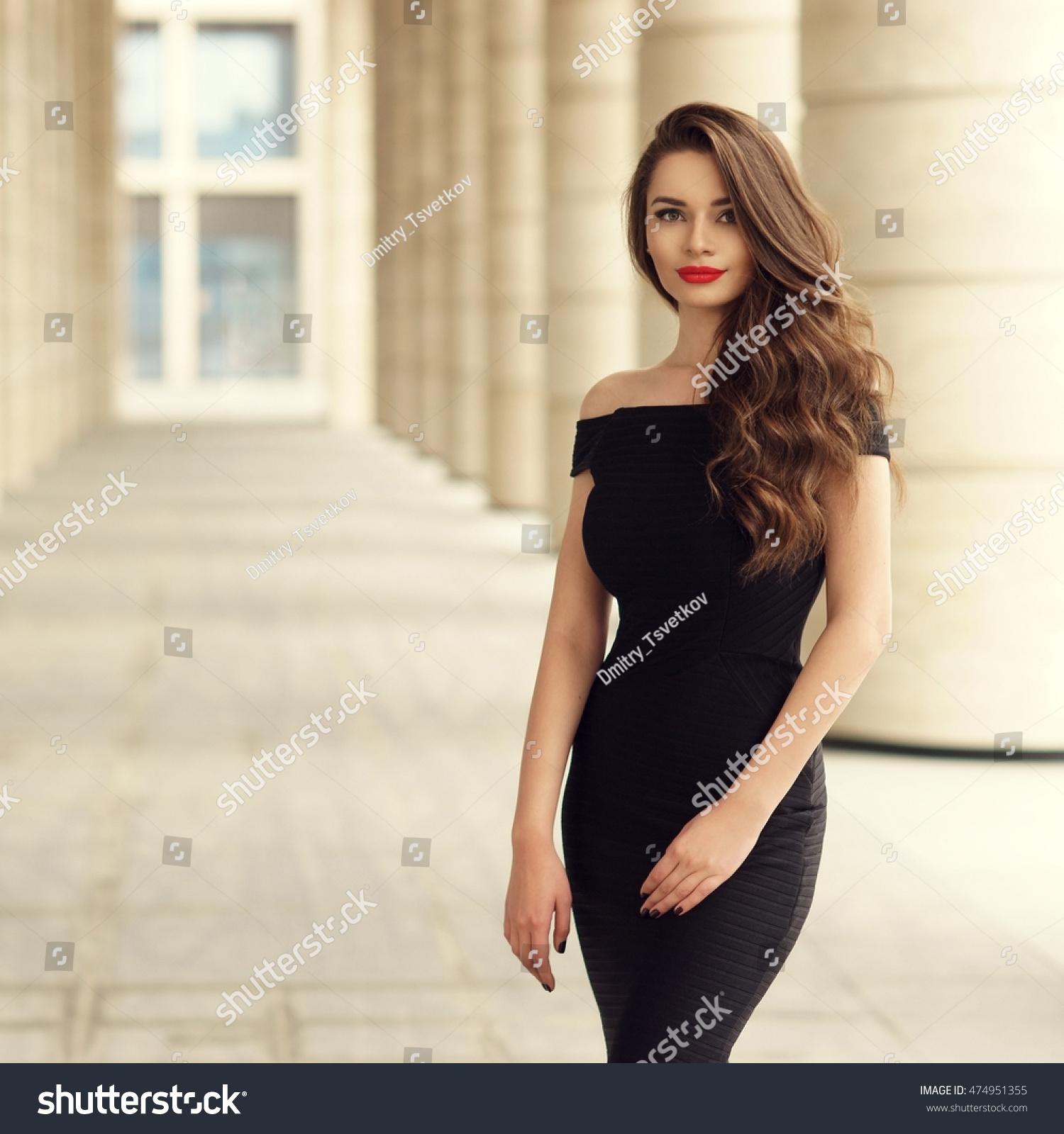 Classy And Glamorous Photo: Young Elegant Girl Posing City Street Stock Photo