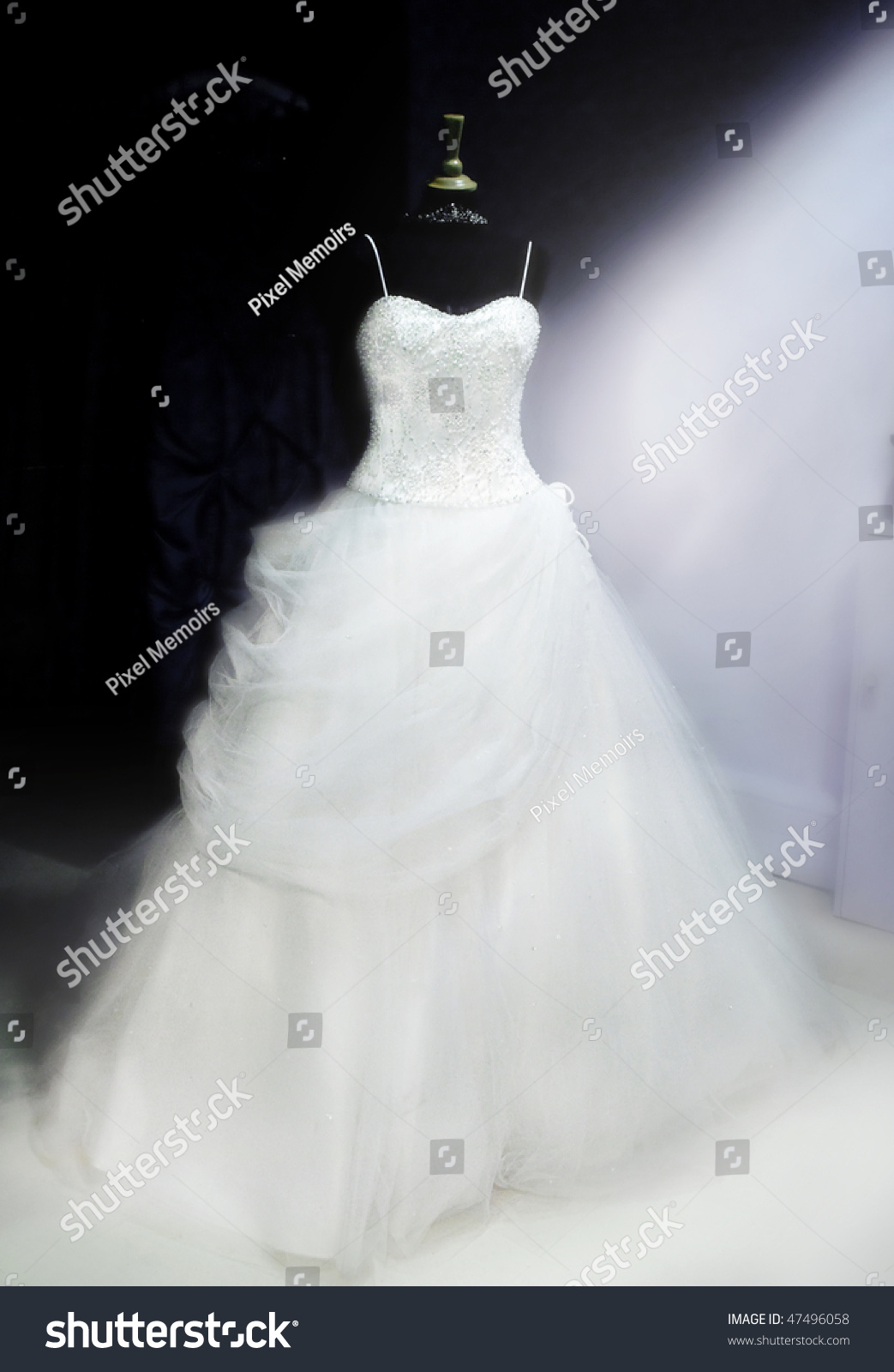 Beautiful Wedding Dress On Display Stand Stock Photo 47496058 ...