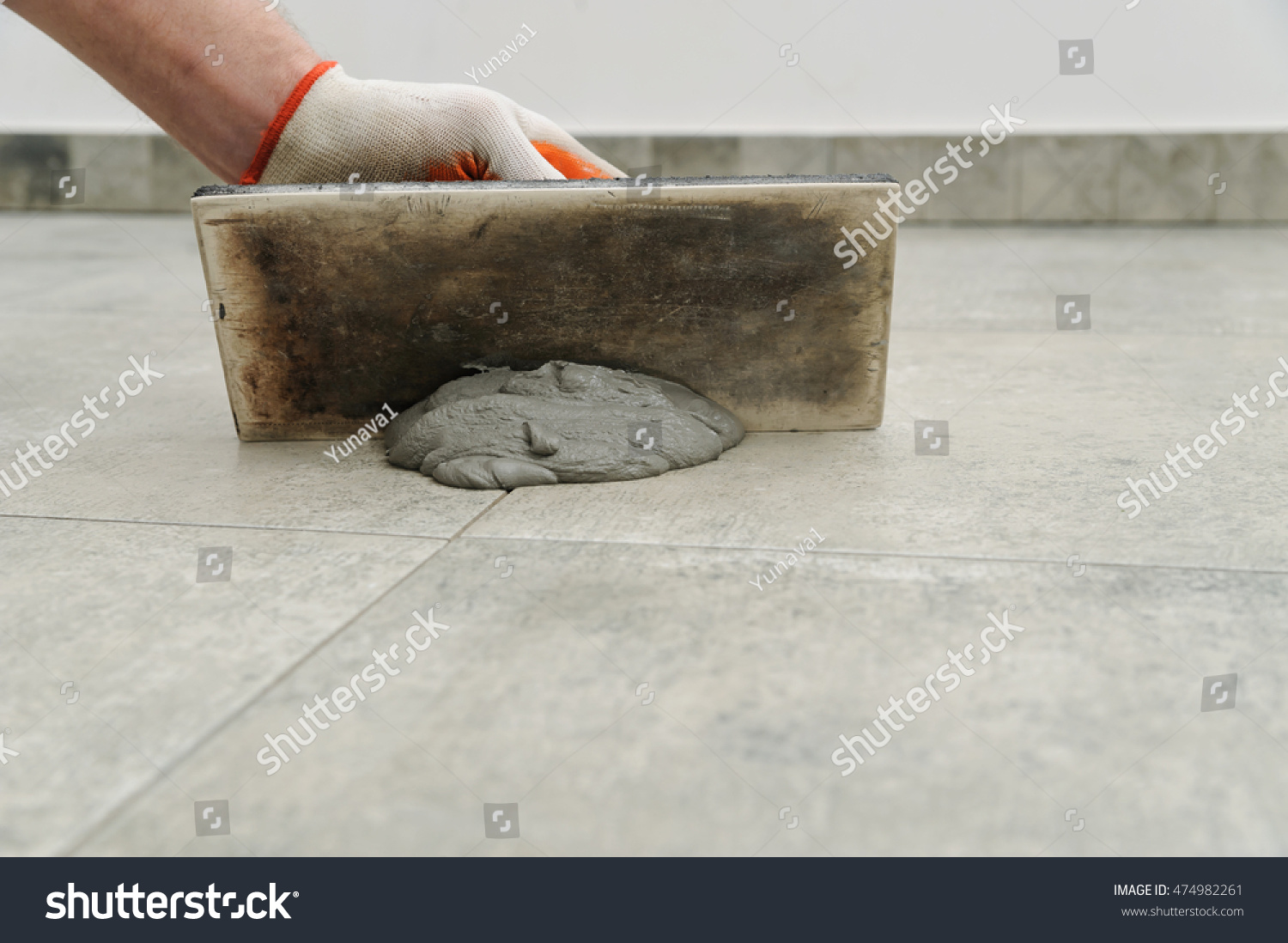 Grouting Ceramic Tiles Tilers Filling Space Stock Photo Edit Now