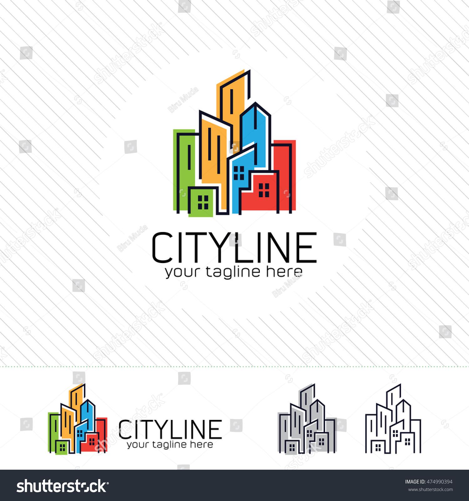 Abstract city building logo design concept stock vector for Apartment logo design