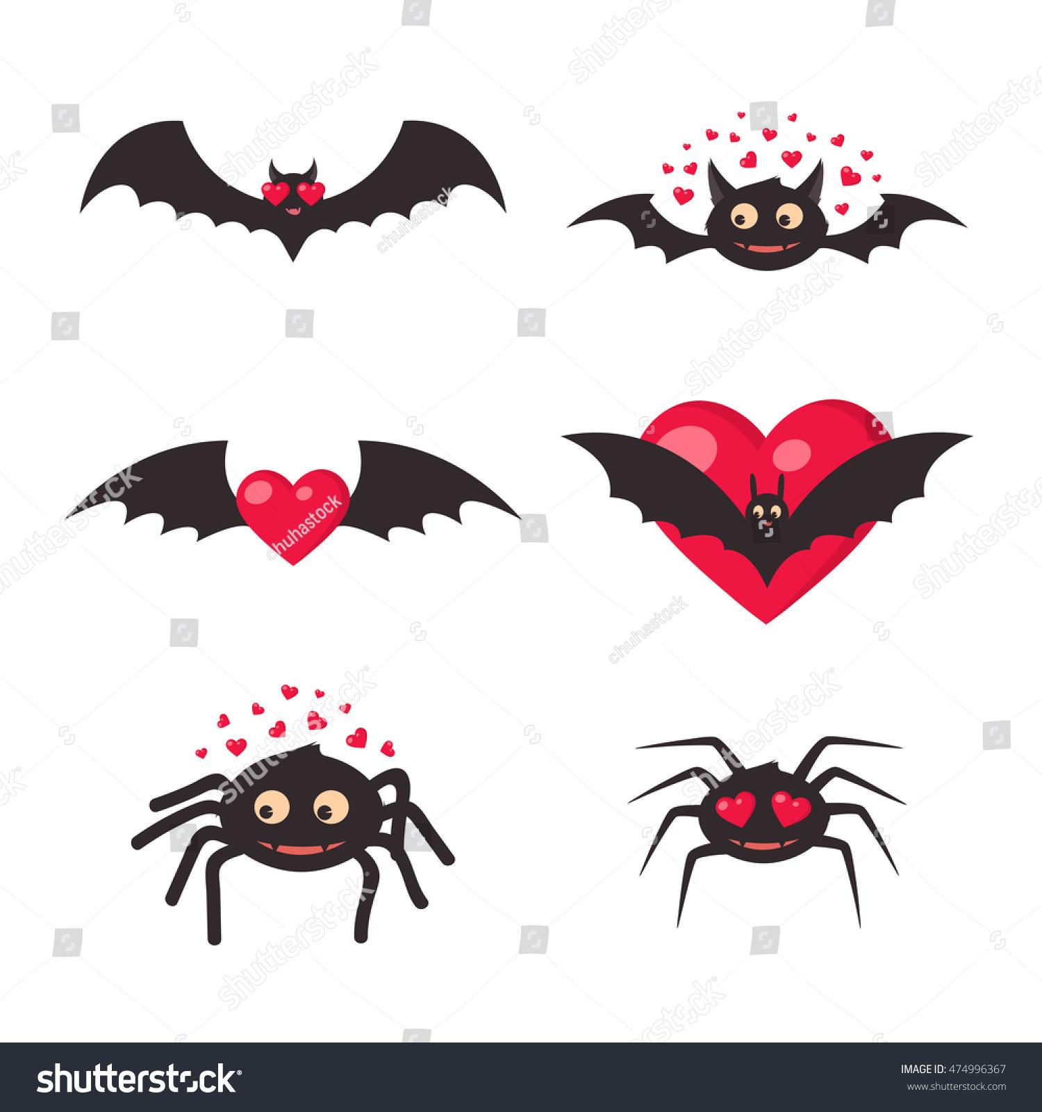 Love Bats Spiders Traditional Halloween Symbols Stock Vector