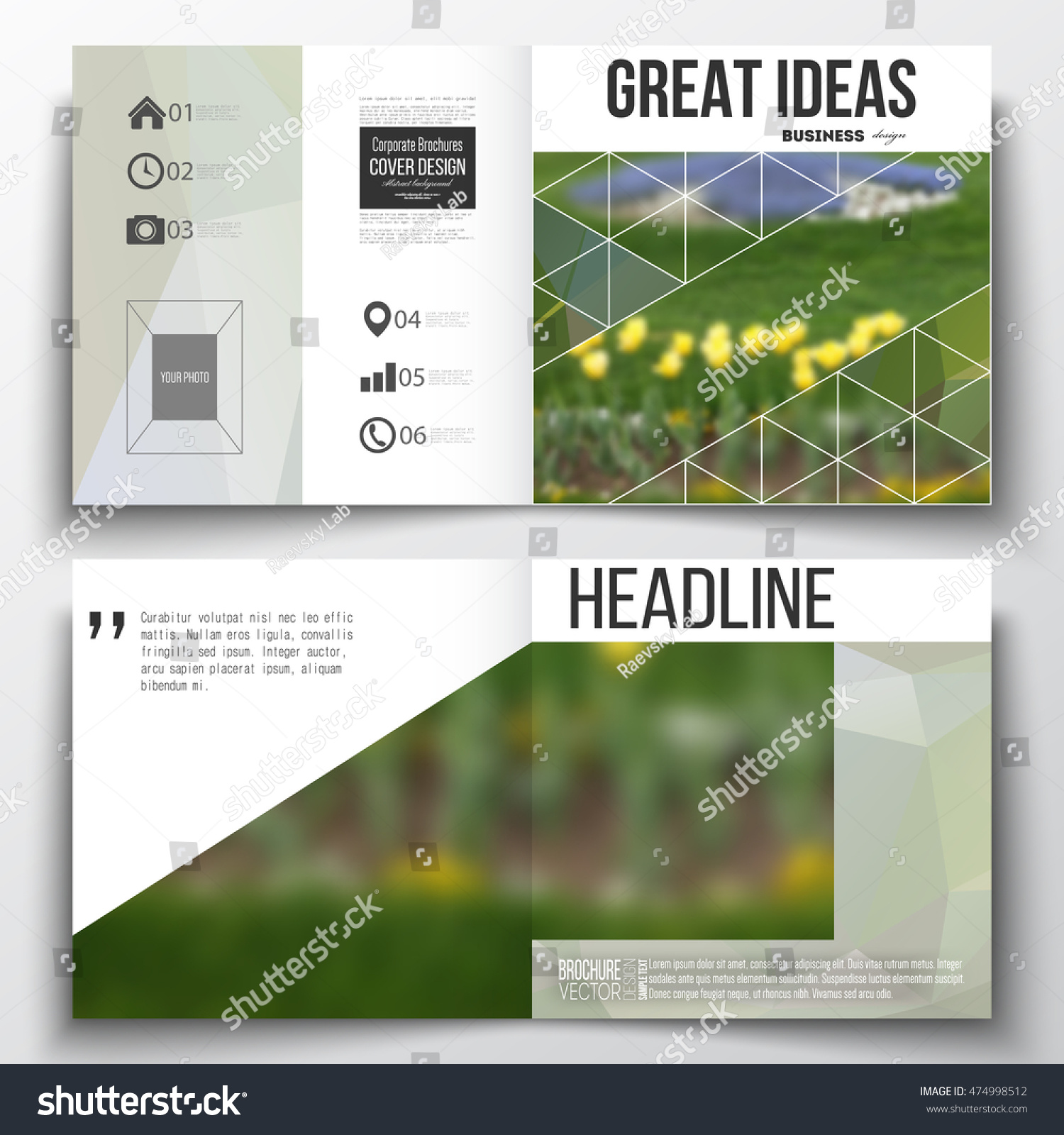 Set Annual Report Business Templates Brochure Stock Vector - Templates for brochures