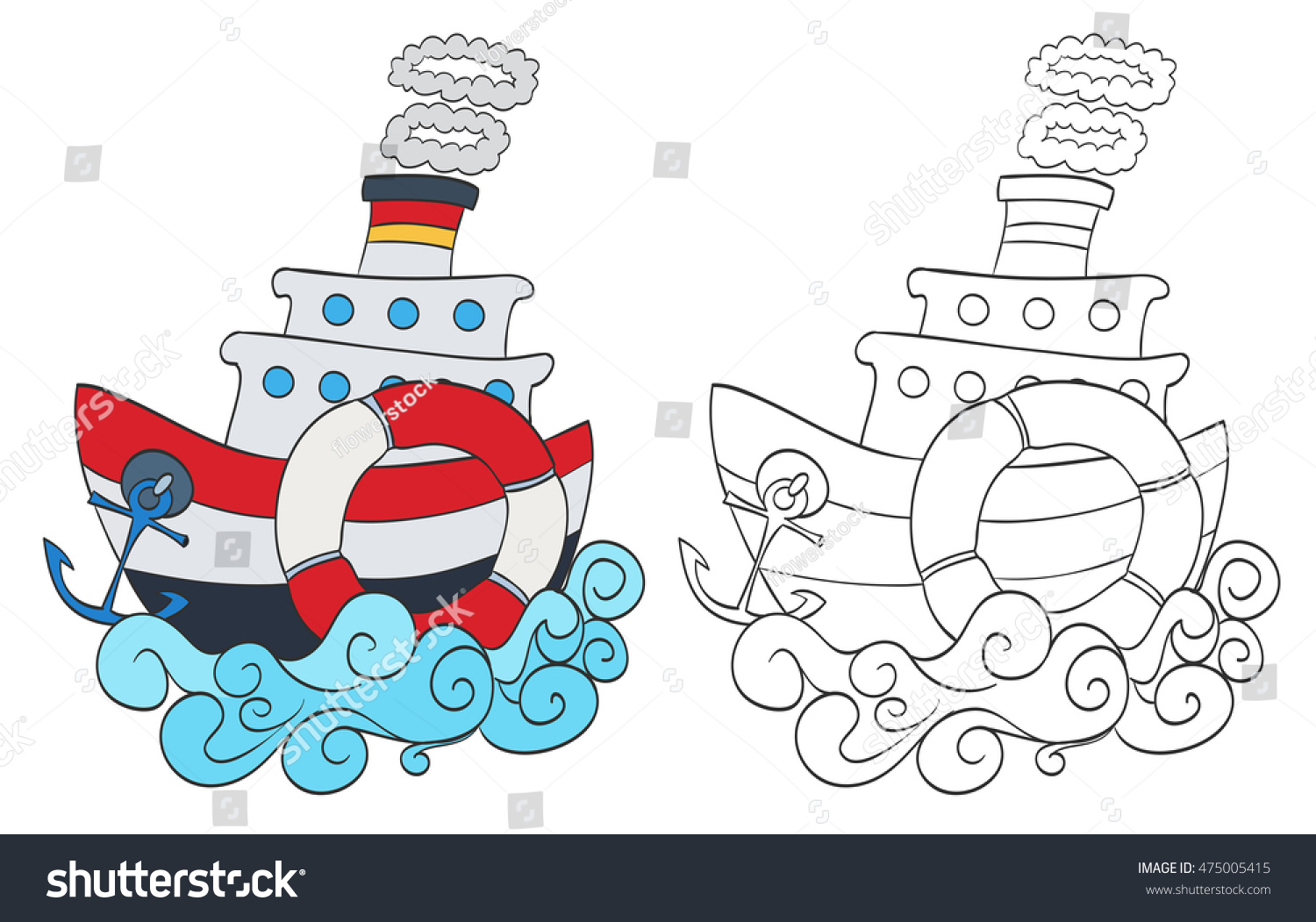 Hand Drawn Cartoon Steamship With Coloring Page Version Raster