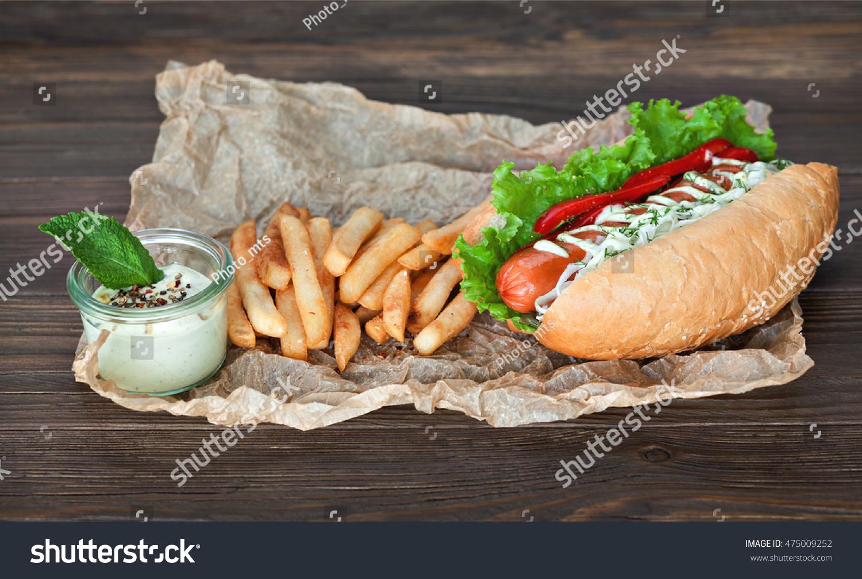 big tasty hot dog sausage vegetables stock photo 475009252. Black Bedroom Furniture Sets. Home Design Ideas