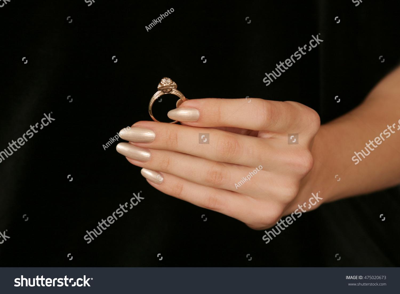 Female Hand Holding Fingers Diamond Ring Stock Photo 475020673 ...