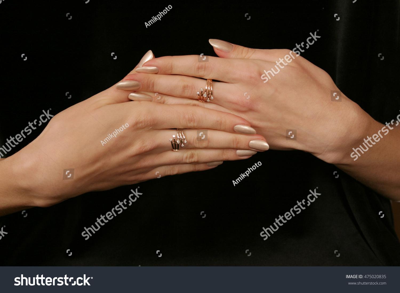 Female Hand Holding Fingers Diamond Ring Stock Photo 475020835 ...