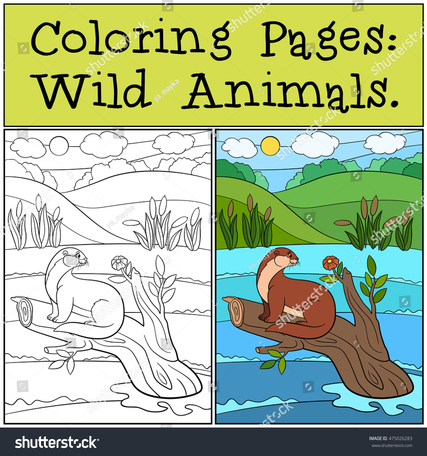 Coloring Pages Wild Animals Little Cute Stock Vector 475026283 ...