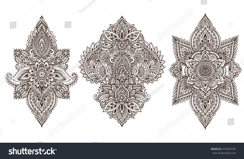 Henna Mehndi Vector : Vector set henna floral elements based stock hd royalty free