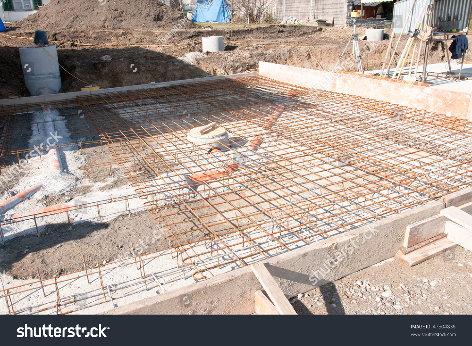 New property home foundation construction stock photo for New home foundation