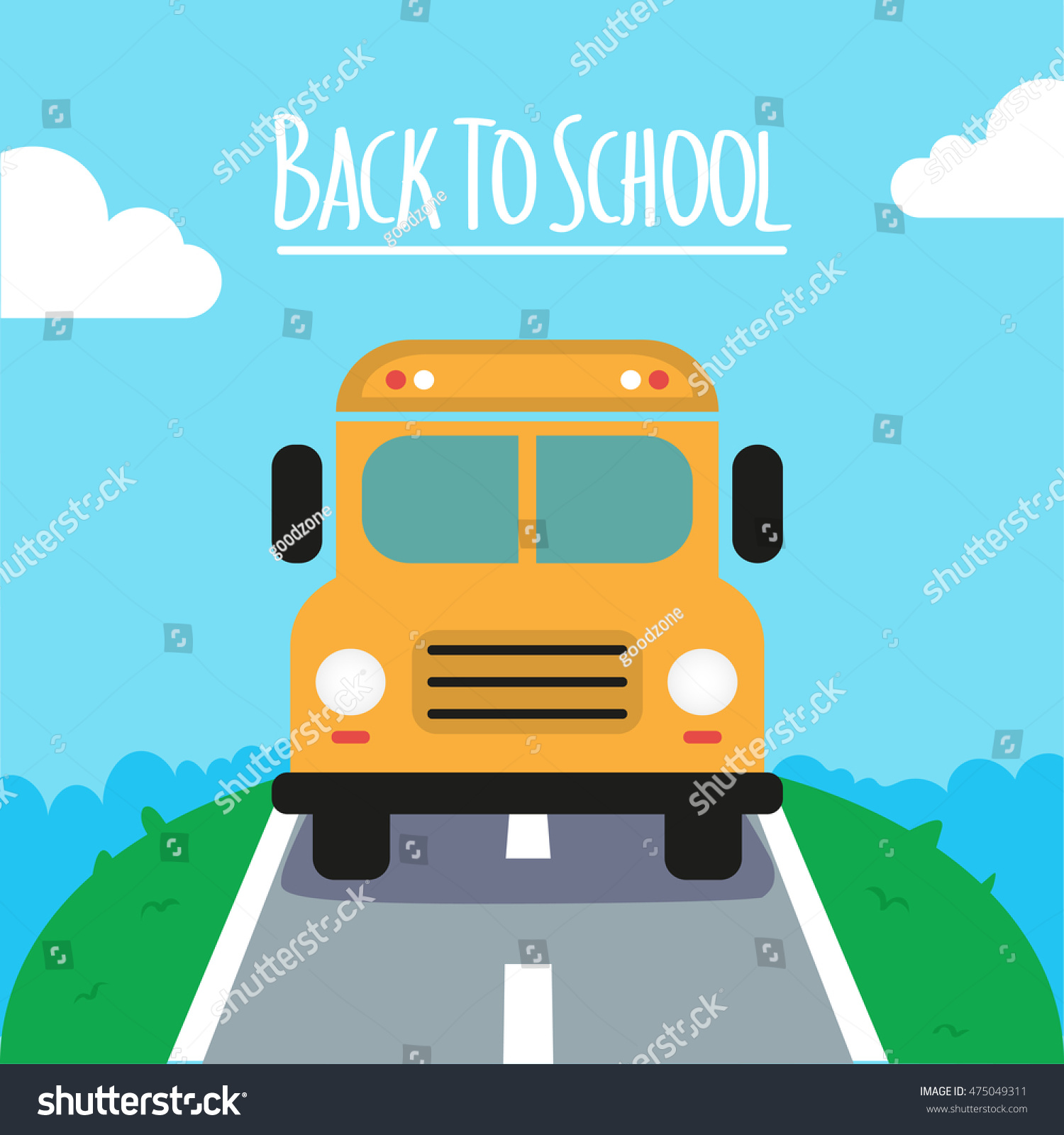 back yellow bus kids stock vector 475049311