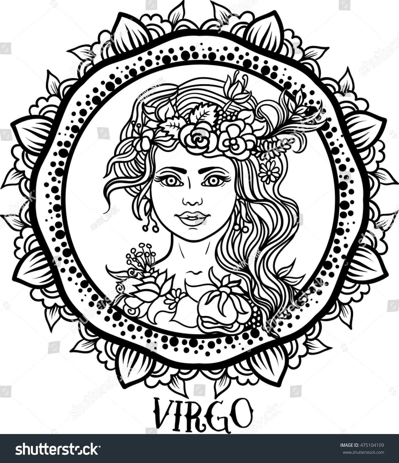 detailed virgo aztec filigree line art stock vector 475104109