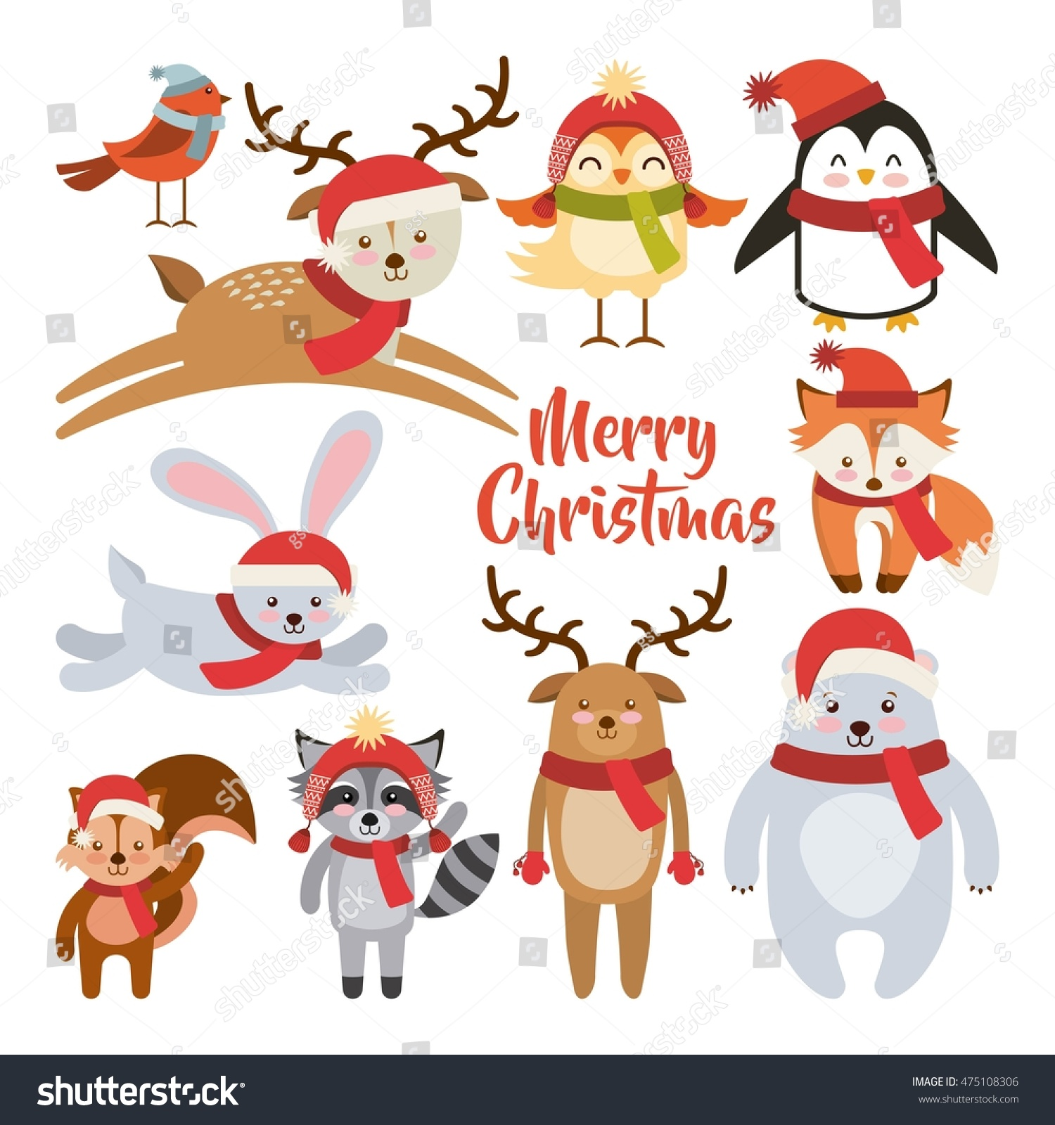 cute animal merry christmas isolated icon vector. Black Bedroom Furniture Sets. Home Design Ideas