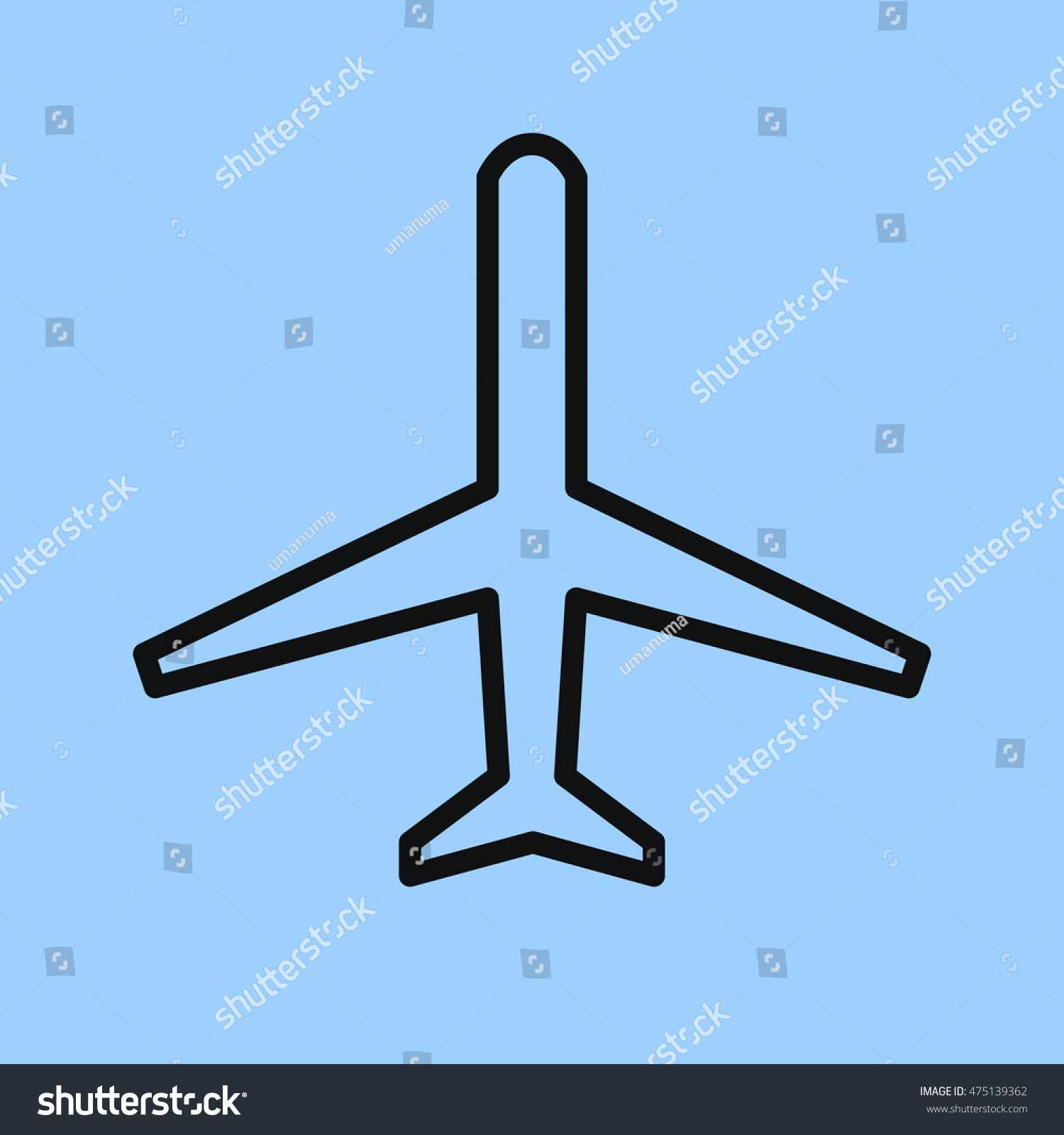 airplane icon simple passenger or transport aircraft top view flat thin line drawing