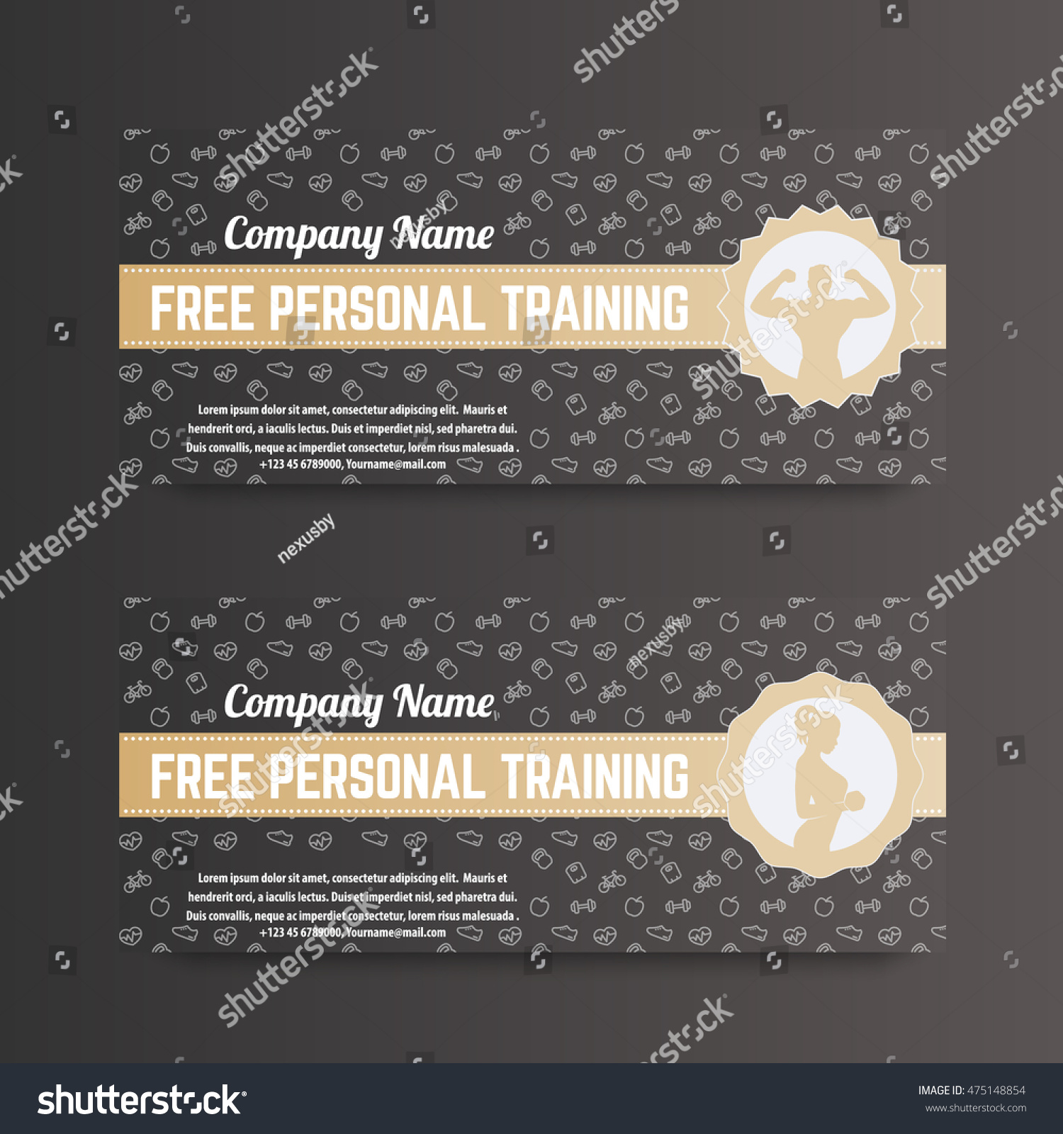 Free Personal Training Gift Voucher Gym Stock Vector Royalty Free