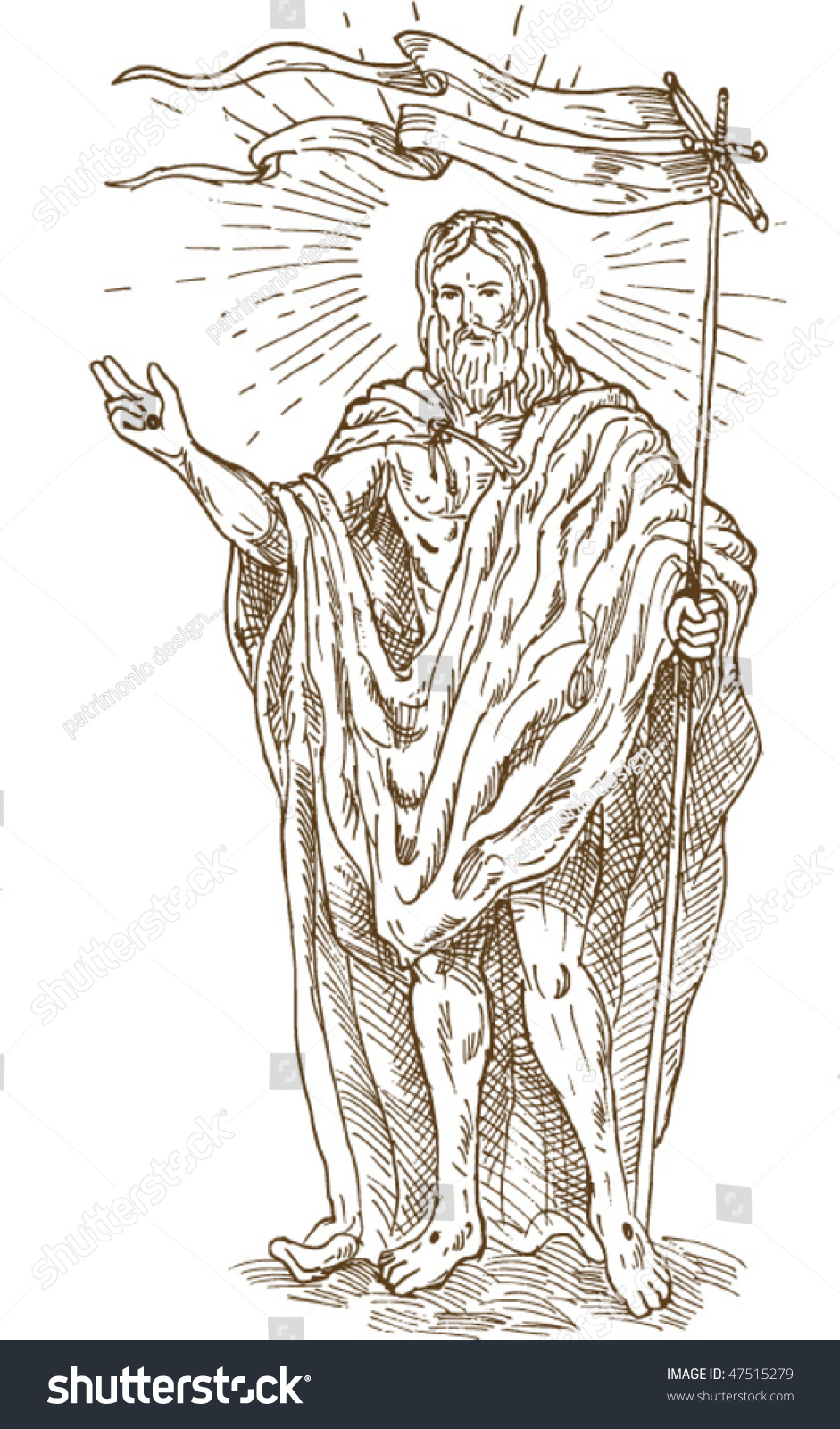 Vector hand sketch drawing illustration of the the risen or resurrected jesus christ standing with flag
