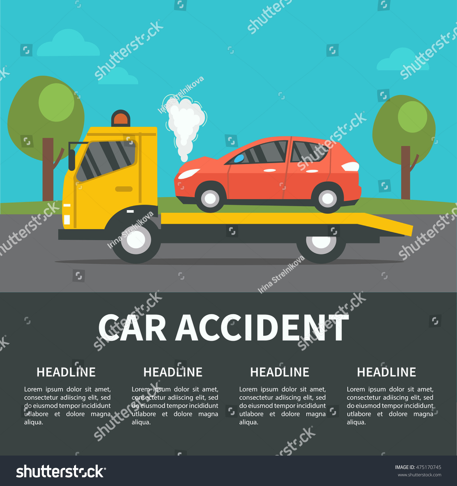 Car Accident Concept Illustration Vector Infographic Stock