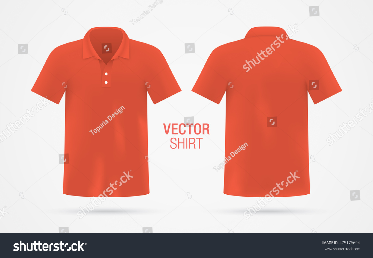 1cada7f1 Men's red vector polo shirt template isolated on background. Men's classic  red shirt realistic mockup