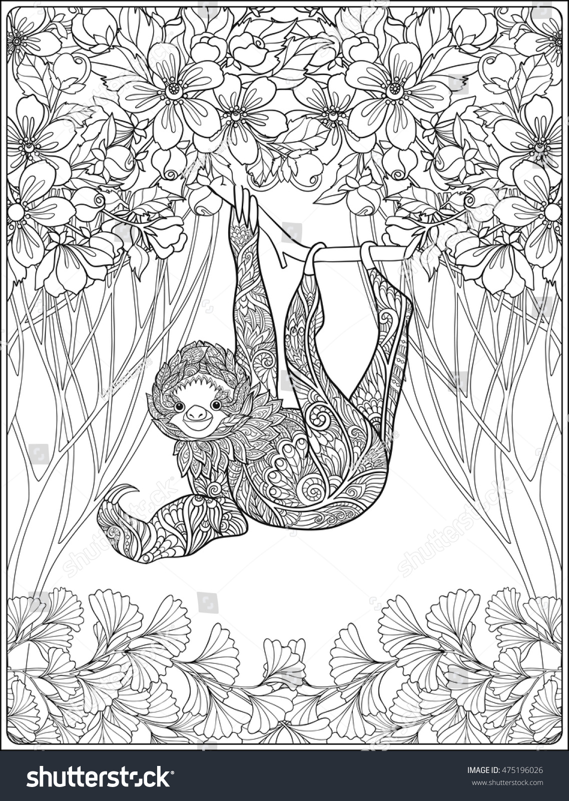 Coloring Page Lovely Sloth Forest Coloring Stock Vector (Royalty ...